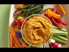 Jazz up your classic hummus by making this Roasted Carrot Hummus {VIDEO) pinned from Weelicious.com #weeliciouslunches