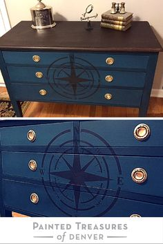 "Gorgeous navy (dark teal) dresser with compass rose. How to DIY: Painted with Heirloom Tradition's Feathered Nest and then Black Bean chalk paints on the Maison de Stencil.; waxed with HT's Jet Black Wax and Clear; stained top in General Finishes Java Gel Stain and top coated with Polyvine. Get these colors and stains from http://heirloomtraditionspaint.mybigcommerce.com/ with coupon code ""PAINTEDTREASURES"""