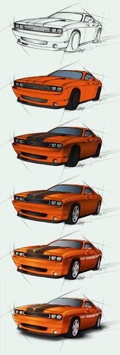 The step-by-step file showing how I painted that Dodge Challenger SRT image At first I start with the sketch, than add base colors, shading, light, co… – Car Racing & Car Classic Car Design Sketch, Car Sketch, Design Autos, Design Cars, Car Drawing Pencil, Family Car Decals, Cool Car Drawings, Dodge Challenger Srt, Car Illustration