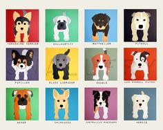 Nursery art print. Dog print for baby / child nursery wall. 8x10 Puppy wall art for kids playroom decor from paintings.