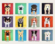 Dog wall prints. Puppy dog themed nursery wall art. 8x10 dog print artwork. Baby nursery art for kids decor. Nursery decor