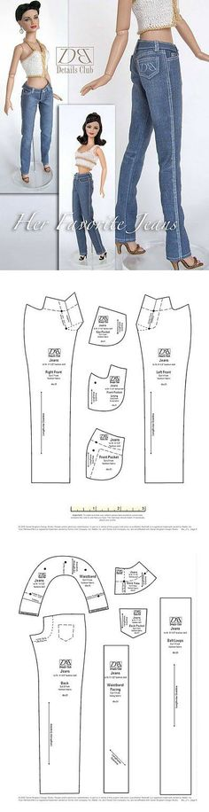 Barbie doll jeans pattern.