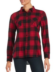 Beach Lunch Lounge Long Sleeved Flannel Button Front Shirt Women's Red