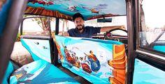 Taxi decorado por el colectivo Taxi Fabric