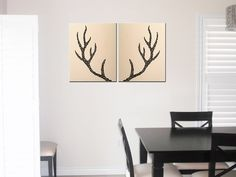 Deer Antlers  - Original Painting on Canvas, 16x20, Home Decor, Office Decor, Antler Silhouette, Living Room Decor by MatriXArtbyDV on Etsy https://www.etsy.com/uk/listing/200073842/deer-antlers-original-painting-on-canvas