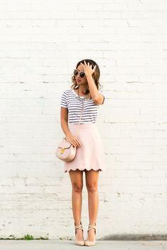 Scallop mini skirt, pink mini skirt, chloe mini drew, cute stripe outfit, s Fashion Blogger Style, Fashion Mode, Petite Fashion, Girl Fashion, Fashion Bloggers, Classy Fashion, Fashion Tips, Fashion Trends, Spring Fashion Outfits