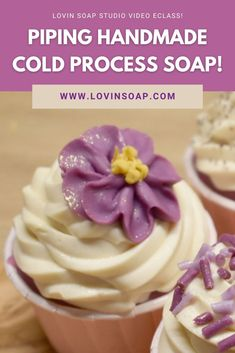 Piping soap is a ton of much fun! Learn to make beautiful handmade cold process soap cupcakes with 12 different frosting designs with my video design tutorial eclass! Formulate a piping recipe with the perfect consistency for frosting. You will also learn how to create piped flowers for loaf and cupcake toppings. Add new soap design techniques to your skillset! Soap Making Recipes, Soap Recipes, Cupcake Icing Designs, Cupcake Toppings, Cupcake Soap, Diy Lotion, Shea Butter Soap, Sales, Soaps