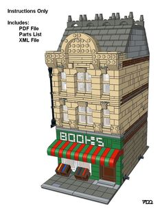 Lego Custom Modular Building - The Bookstore - Instructions Only #LEGO