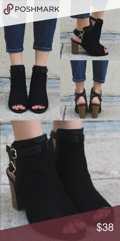 """Black peep toe cut out buckle ankle bootie They are a pair of faux suede, peep toe booties featuring a cut out back, double buckled ankle strap, western stitching and a block wooden heel. Heel height: 3.5"""" (approx) Shoes Ankle Boots & Booties"""