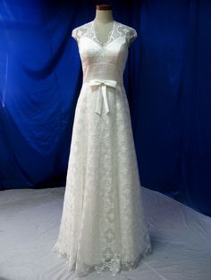 Bohemian Wedding Dress Gown in Lace with Cap Sleeves. $679.00, via Etsy.