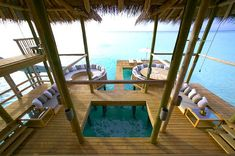 The largest water villa or overwater bungalow in the world is more than six times larger than a typical suburban house, and only accessible by boat. Gili Lankanfushi, Water Villa, Suburban House, Overwater Bungalows, Luxury Villa, Virtual Tour, Maldives, Best Hotels, Beach Houses
