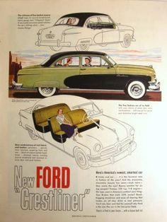 1950 Vintage Car Ad Ford Crestliner Vintage Auto Ad