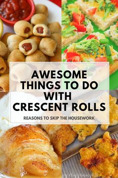 With the holidays coming up you better go out and stock up on some Crescent Rolls - and now they have Crescent Recipe Creations Seamless Dough Sheets which are even more fun to bake with! These are some great Recipes for Crescent Rolls for you to try out. Crescent Dough Sheet Recipes, Pillsbury Crescent Roll Recipes, Recipes Using Crescent Rolls, Pilsbury Recipes, Bisquick Recipes, Cresent Roll Appetizers, Creasant Roll Recipes, Pastry Recipes, Veg Recipes