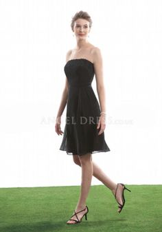 Strapless Chiffon A line Natural Waist Zipper Back Above Knee Bridesmaid Dresses