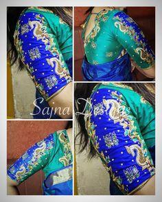 #elegantembroidery #bridalblouse #indianwedding #handemebroidery #aariworkblouse #sajnadesigns #sajnabridalweardesigner #contrastblousecombination #bluesaree #aquagreenblouse #butterflymotif