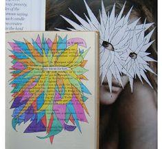 Hier was nu zijn kans - Boeksel door Loes Vork - altered text - book art