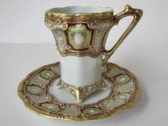 NRN demitasse cup and saucer Antique Tea Cups, Vintage Cups, Teapots And Cups, Teacups, Japanese Porcelain, Tea Art, Tea Service, Antique China, Tea Cup Saucer
