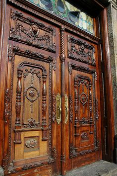 Ornate wood doors of the Governor's building, Guadalajara, Jalisco, Mexico