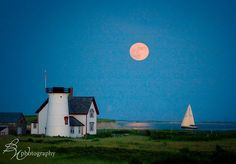 Full moon right returning... entering Stage Harbor. By Betty Wiley, BW photography http://BettyWileyPhotography.com