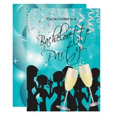 Turquoise Bachelorette Party Card - wedding invitations diy cyo special idea personalize card