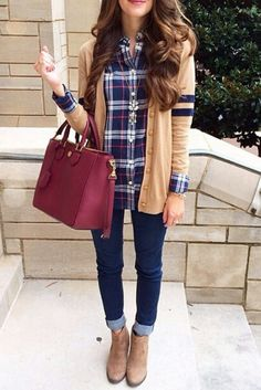 Beige Cardigan , Plaid Shirt , Navy Blue Jeans , Burgundy Purse , Beige Boots on We Heart It