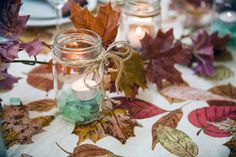 Fall table decorations that you probably already have laying around the house.