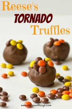 Reese's Tornado Truffles {Tastes of Lizzy T}  Beware of these little truffle bites...they are addicting!  Full of Reese's cups, Reese's pieces & Oreos! http://www.tastesoflizzyt.com/2013/06/07/reeses-tornado-truffles/