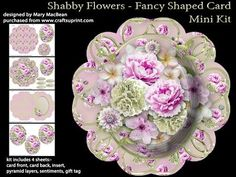 Shabby Flowers Fancy Shaped Card Mini Kit on Craftsuprint - View Now!