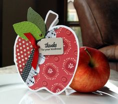 Homemade Card: Cute idea for music teacher - apple card with music notes (sheet music)