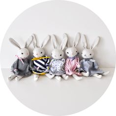 Polka Dot Club — PDC Cuddling Rabbit.  Bummed this isn't a pattern.  Love these little raggedy bunnies.