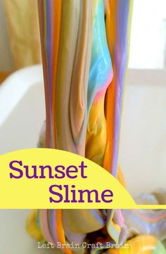 Best DIY Slime Recipes - DIY Sunset Slime - Cool and Easy Slime Recipe Ideas Without Glue, Without Borax, For Kids, With Liquid Starch, Cornstarch and Laundry Detergent - How to Make Slime at Home - Fun Crafts and DIY Projects for Teens, Kids, Teenagers and Teens - Galaxy and Glitter Slime, Edible Slime http://diyprojectsforteens.com/diy-slime-recipes
