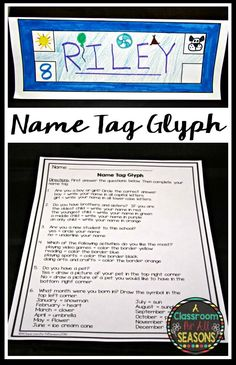 Back to School Activity Name Tag Glyph Great idea for back to school! Make a name tag glyph! It's a great getting-know-you activity to do with your students on the first day of school. Get To Know You Activities, First Day Of School Activities, Name Activities, 1st Day Of School, Beginning Of The School Year, School Fun, Middle School, School Stuff, Back To School Ideas For Teachers