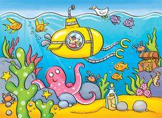 under the sea, submarine, octopus, fish, treasure chest, children's illustration, by Kate Daubney, kids illustration