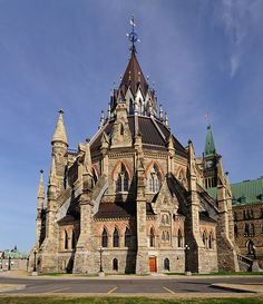 Library of Parliament (Bibliotheque du Parlement), Canada. The style and the three tiered roof are wonderful features.