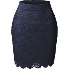 LE3NO Womens High Waisted Floral Lace Scallop Hem Skirt (15 AUD) ❤ liked on Polyvore featuring skirts, bottoms, saia, floral knee length skirt, floral print skirt, high-waist skirt, pencil skirt and floral print pencil skirt