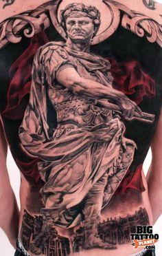 Full size back tattoo of Gaius Julius Caesar statue