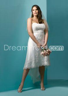 Elegant Sheath/Column Strapless Assymetry-length Appliques Plus Size Wedding Dresses