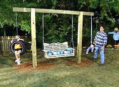 Get the kids away from the electronics and out in the fresh air by installing a tire swing in your backyard. Tire swings have been around forever because they& fun for any age and they& inexpensive to make. Backyard Swing Sets, Backyard Playground, Backyard For Kids, Backyard Projects, Outdoor Projects, Backyard Patio, Backyard Landscaping, Backyard Shade, Pergola Swing