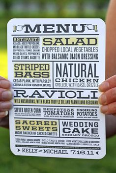 awesome menu for a dinner party Wedding Menu, Wedding Paper, Wedding Reception, Our Wedding, Wedding Planning, Dream Wedding, Wedding Newspaper, Wedding Ideas, Wedding Stationery