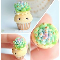 New Succulent Cupcakes Polymer Clay Ideas Polymer Clay Cupcake, Polymer Clay Kawaii, Polymer Clay Figures, Polymer Clay Miniatures, Polymer Clay Projects, Polymer Clay Charms, Polymer Clay Creations, Polymer Clay Art, Diy Clay