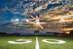 Beautiful Heritage high school senior, Skyler, shows us one of her cheerleading tricks, on the football field. Cheerleading Senior Pictures, Senior Cheerleader, Cheerleaders, Senior Year Pictures, High School Cheerleading, Cheer Pictures, Senior Pics, Football Pictures, Dance Pictures