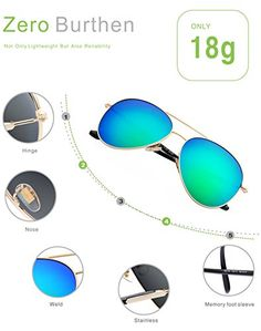 4fd32f20a5a LUENX Aviator Sunglasses Womens Polarized Mirror Green Lens Gold Metal  Frame Large 60mm UV 400 Protection with Case   Continue to the product at  the image ...