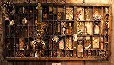 Victorian Steampunk cabinet of curiosities Steampunk House, Steampunk Design, Victorian Steampunk, Steampunk Fashion, Steampunk Kitchen, Printers Drawer, Do It Yourself Furniture, Cabinet Of Curiosities, Curiosity Shop