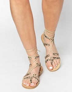 ASOS FOOZLE Leather Lace Up Sandals