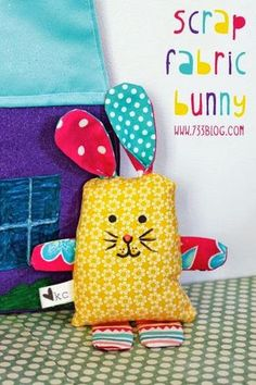 Scrap Fabric Bunny Softie Tutorial - seven thirty three Use up all those scrap fabrics with this easy and adorable Scrap Fabric Bunny Softie Pattern! Operation Christmas Child, Sewing Toys, Baby Sewing, Sewing Crafts, Sewing Projects, Scrap Fabric Projects, Diy Projects, Sewing Hacks, Softies