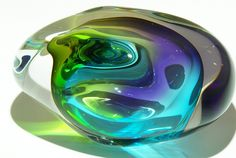 Art Glass crystal paperweights from Kela's.a glass gallery on Kauai Porcelain Ceramics, Ceramic Art, Stained Glass Tattoo, Art Of Glass, Marble Art, Turquoise Glass, Glass Marbles, Glass Paperweights, Leaded Glass