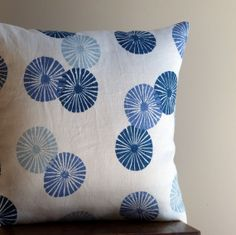 Blue Pillow Cover Handprinted Linen Throw Pillow by LilaKids, $45.00