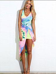 Damen Kleid  -  Gespleisst Asymmetrisch Baumwoll-Mischung Ärmellos V-Ausschnitt