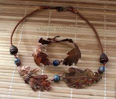 Купить Колье и браслет Дубрава - коричневый, медный, гальваника, медные украшения, Медь ручной работы