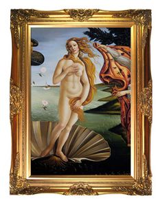 Hand-Painted Museum Masters 'Birth of Venus' (Center Panel) by Botticelli